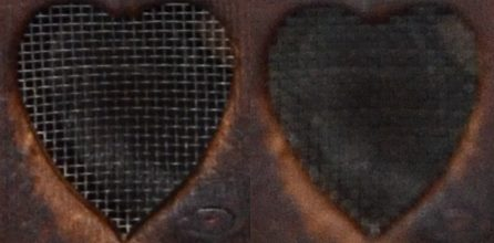 Close-up view of mesh window in both pictures. One in focus and one not.