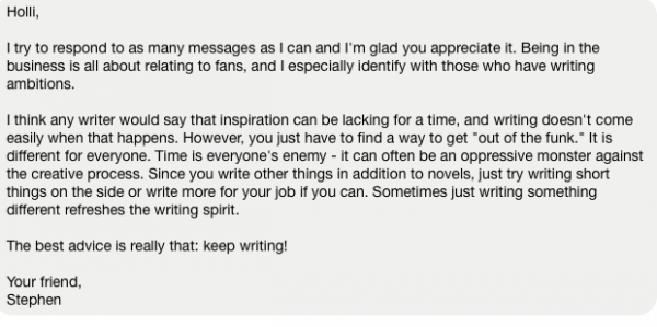 Stephen King's advice